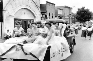 1955 Parade with 4-H girls float