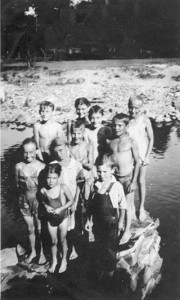 Kids at the swimming hole called Sulfur