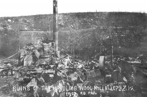Ruins of a kindling wood factory 1907